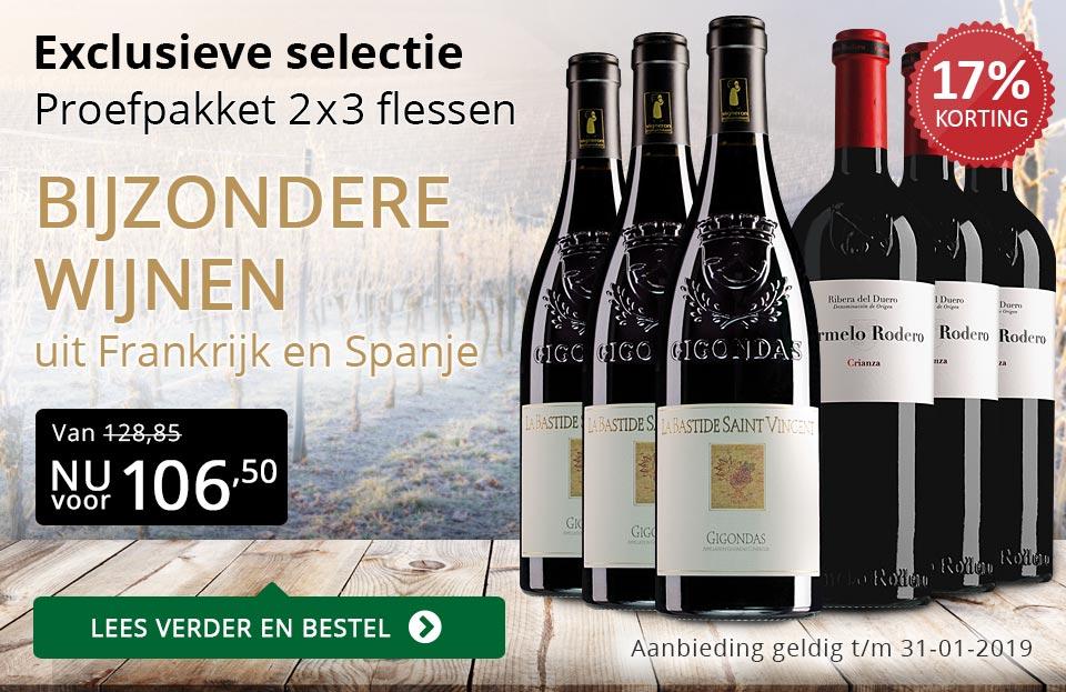 Proefpakket bijzondere wijnen januari 2019 (106,50) - goud/zwart