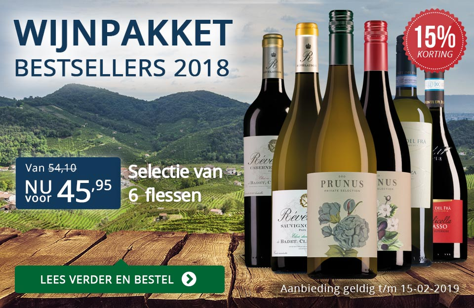 Wijnpakket bestsellers 2018 met knallende korting - blauw