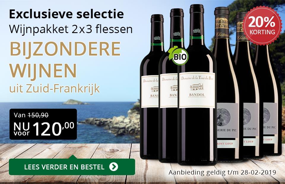 Wijnpakket bijzondere wijnen februari 2019 (120,00) - goud/zwart