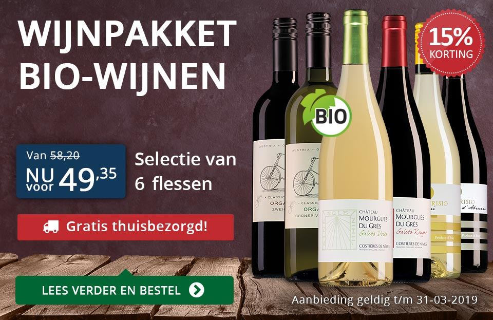 Wijnpakket BIO (49,35) - gratis thuisbezorgd - blauw