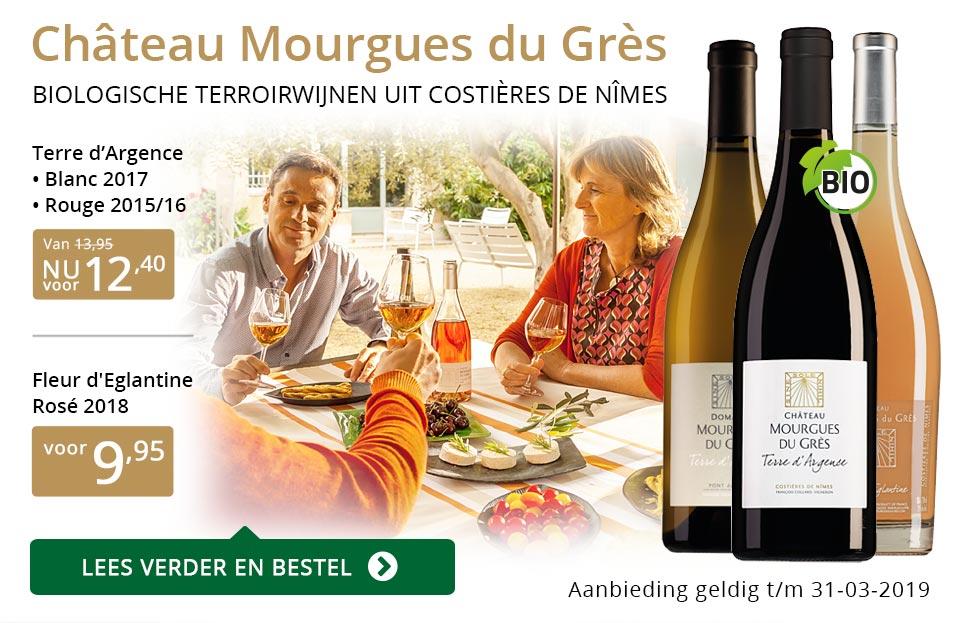 Château Mourgues du Grès wijnen in Perswijn - goud/zwart