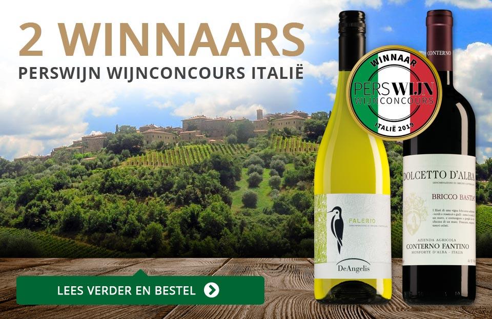 2 Winnaars in het Perswijn Wijnconcours Italië - goud/grijs