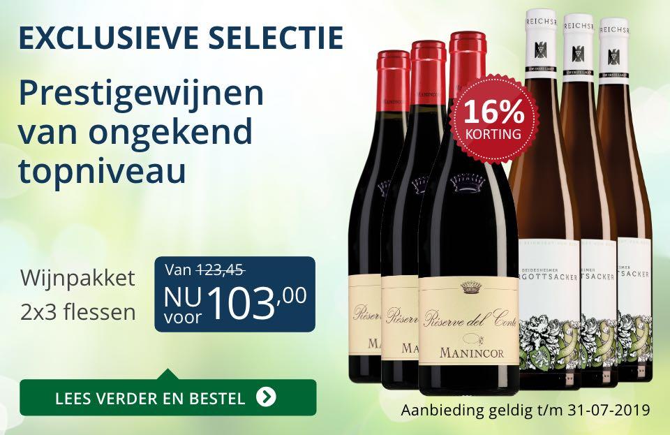 Wijnpakket bijzondere wijnen juli 2019 (103,00)- blauw
