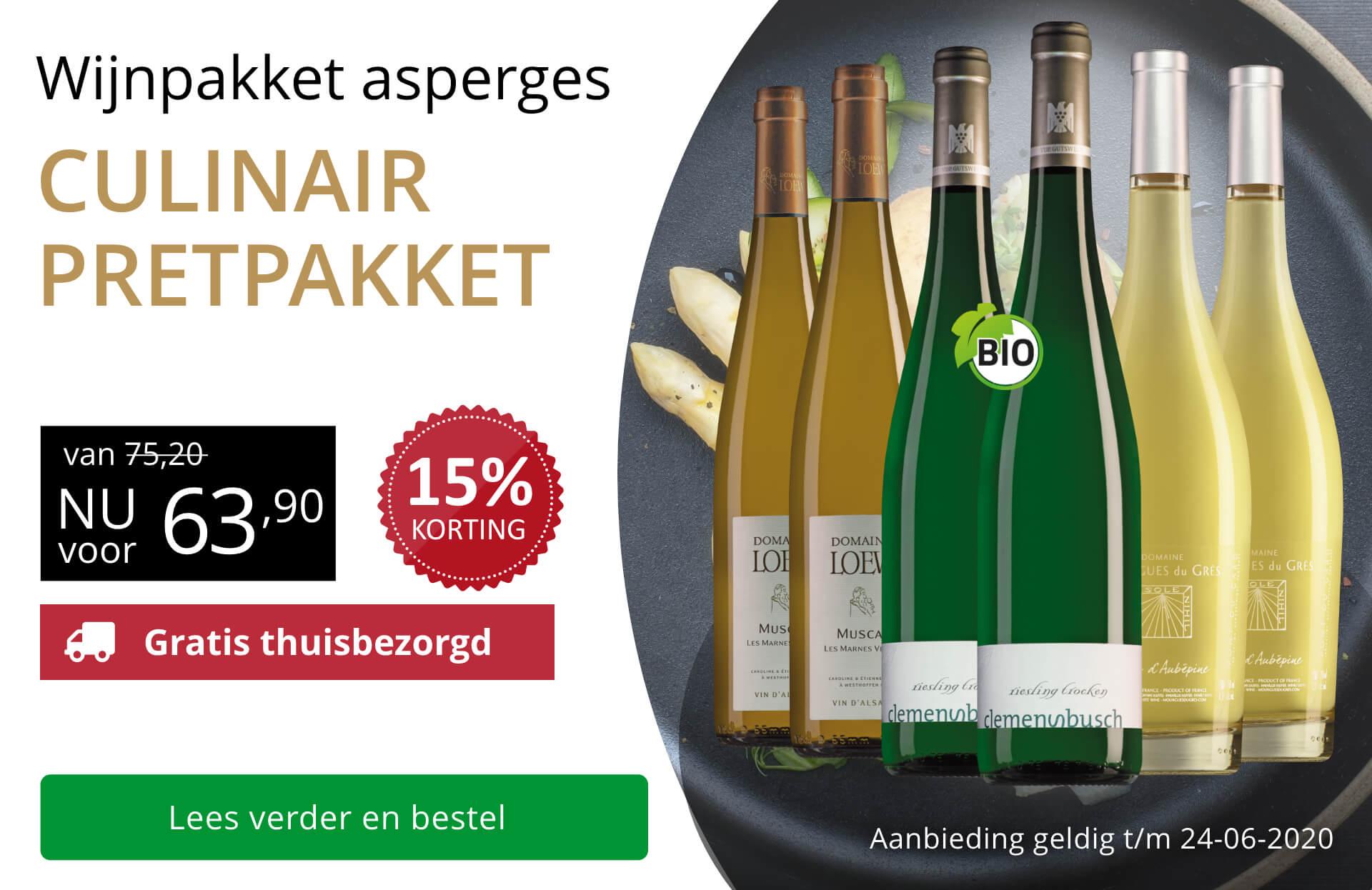 Wijnpakket Aspergewijnen (63,90) - goud/zwart