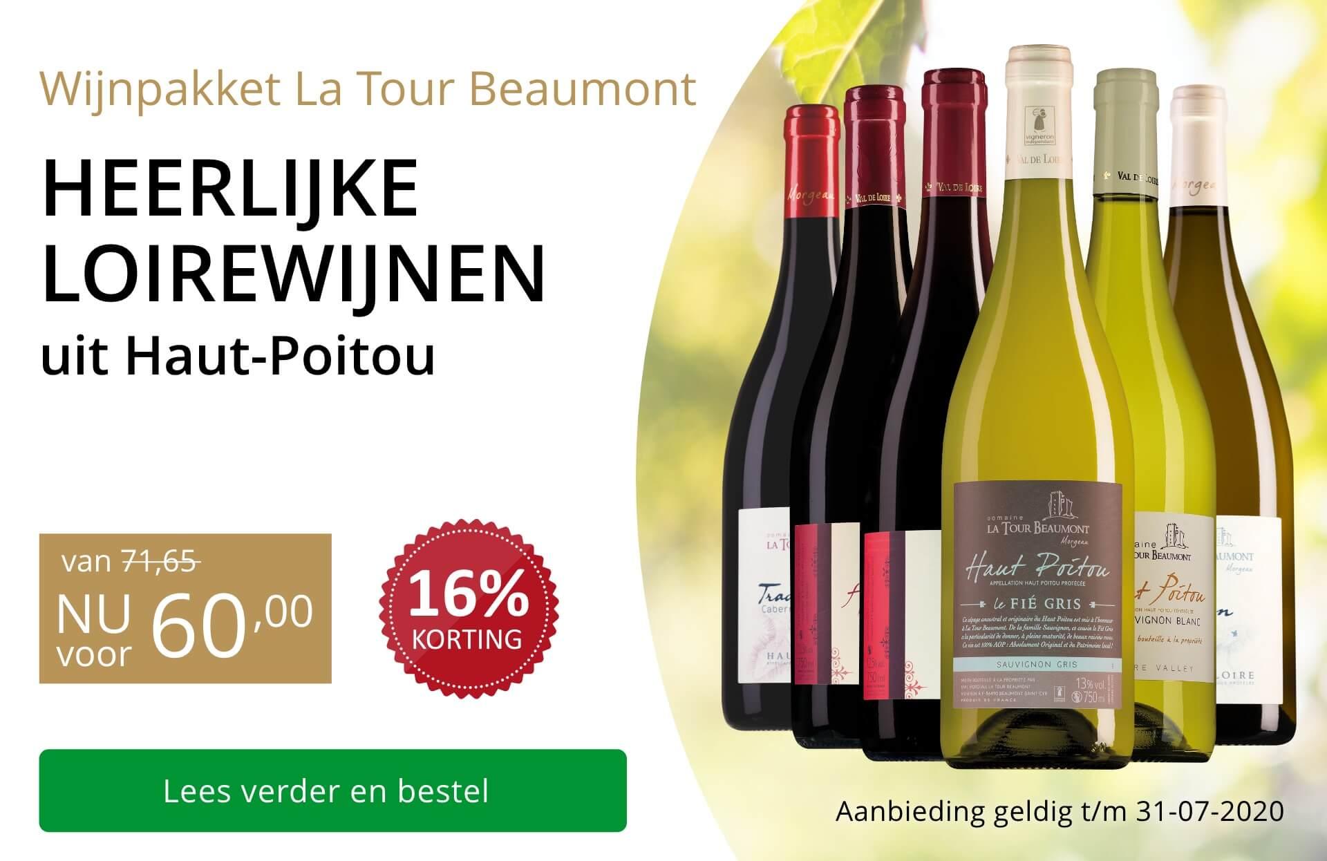 Wijnpakket La Tour Beaumont(60,00)-goud/zwart
