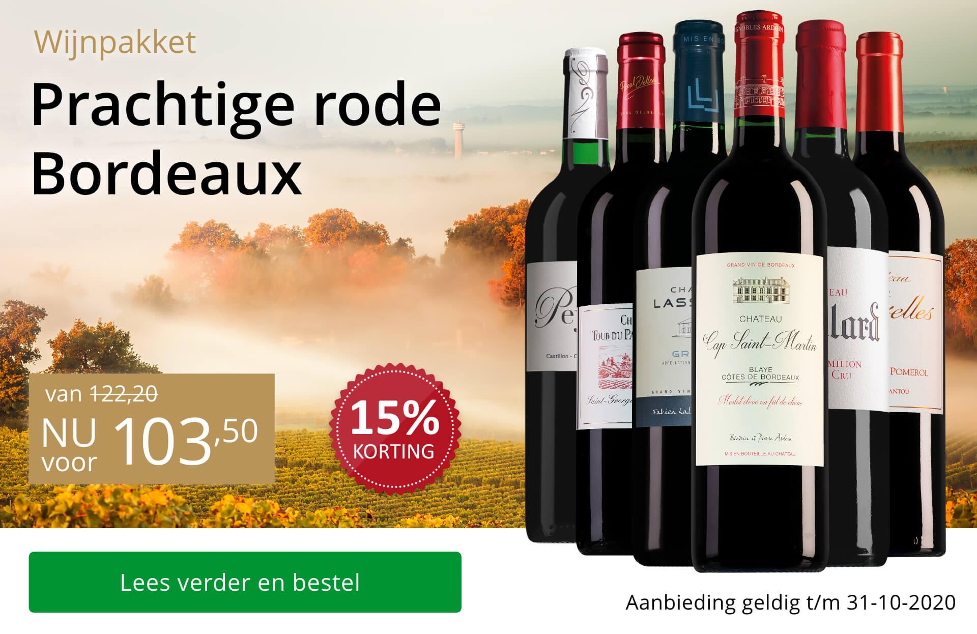 Wijnpakket rode Bordeaux (103,50) - goud/zwart